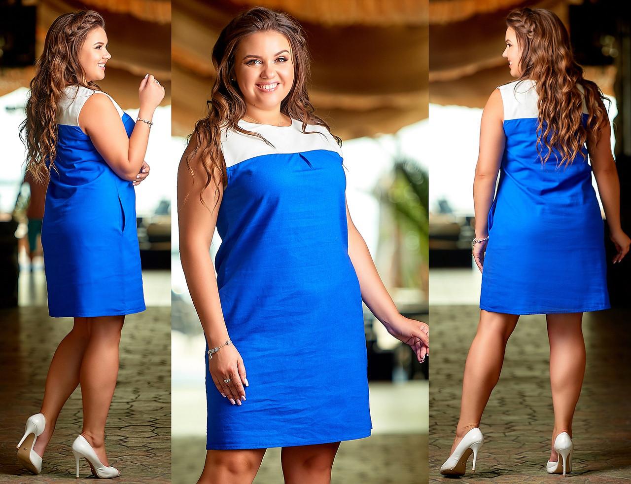 Платье №3396П (р-р.48,50,52,54) Ткань:лен натуральный. Цвета в ассортименте