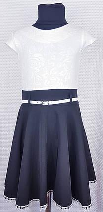 Школьный сарафан Эльза белый+ темно-синий р.122-140, фото 2