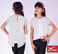 Блузка школьная креп-шифон Размеры: 30,32,34,36,38,40,42 белая с отделкой мелкий или крупный горох, молочная