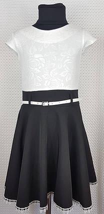 Школьный сарафан Эльза белый+ черный р.122-140, фото 2
