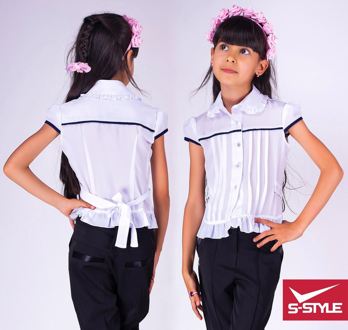 Блузка школьная для девочки Рюшик Материал: креп-шифон Размеры: 28,30,32,34,36 Цвет:белая с синей отделкой