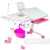 Детский стол-трансформер FunDesk Amare Pink с выдвижным  ящиком, фото 2