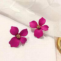 Серьги модные розовые цветы бижутерия