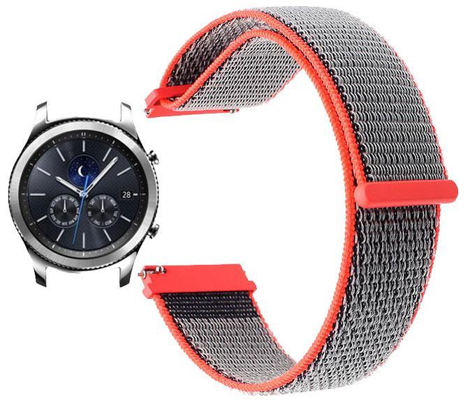 Нейлоновый ремешок Primo для часов Samsung Gear S3 Classic  SM-R770 / Frontier RM-760 - Neon Red