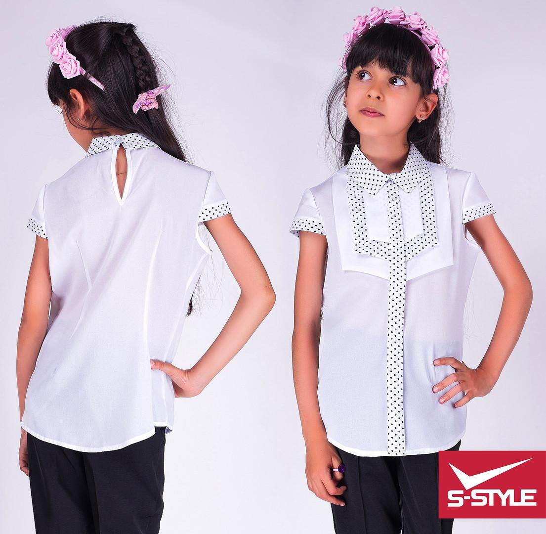 Блузка школьная Стильный галстук Размеры: 30,32,34,36,38,40 Цвет:белая с синей отделкой и с отделкой в горох
