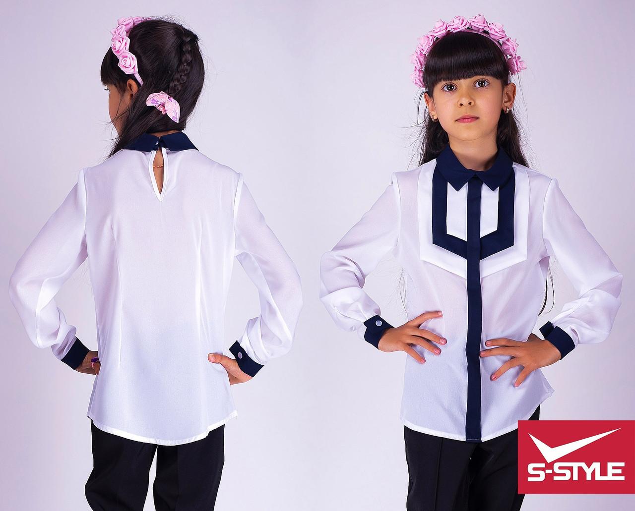 Блузка школьная Стильный галстук  Размеры: 30,32,34,36,38,40 длинный рукав