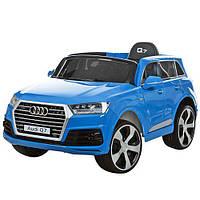 Детский электромобиль Audi Q7 Blue р/у2,4G,2мот12V,2аккум6V7A, колесаEVA,кож.сид,MP3, FM,инд.бат,краш.синий