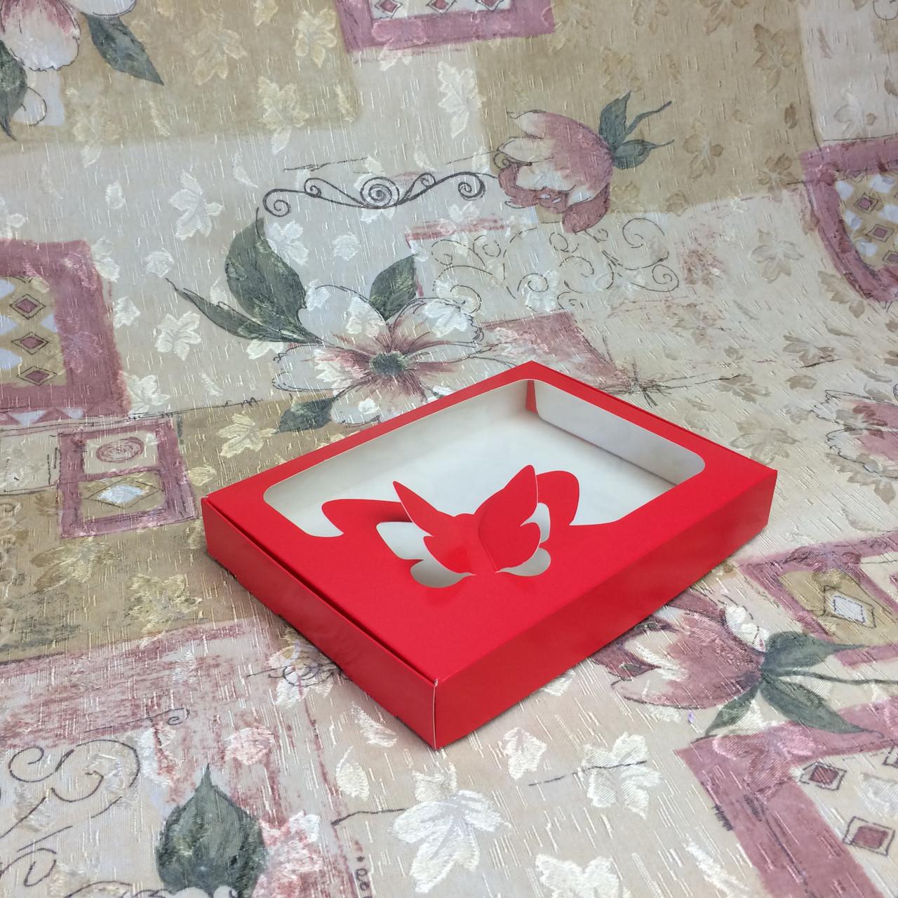 Коробка для пряников / 150х200х30 мм / печать-Красн / окно-Бабочка