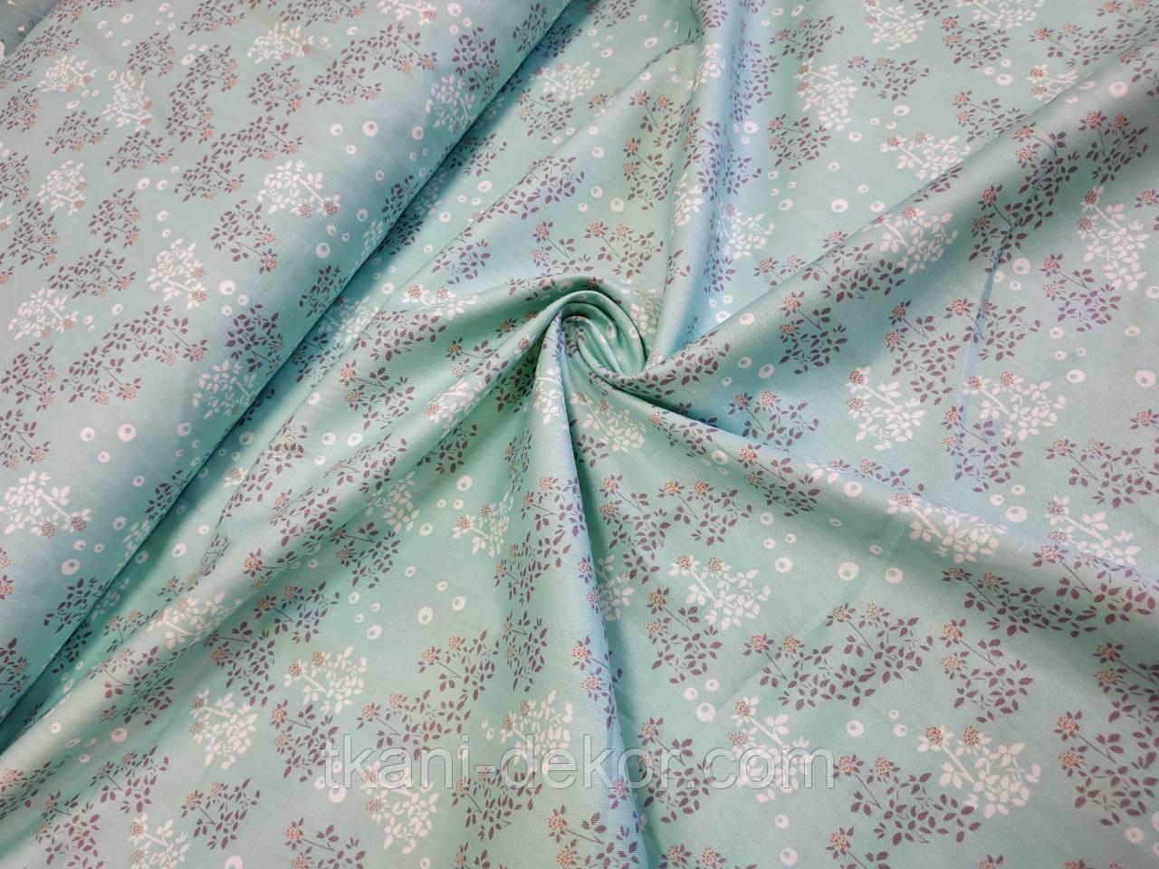 Сатин (хлопковая ткань) полевые цветы на зеленом