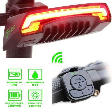 """Велосипедный фонарь, габариты Meilan X5 """"STOP"""" c указанием поворотов, micro USB"""