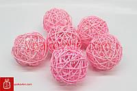 Шар из ротанга для декора и композиции 6шт №DRN12001-10 7438C - Розовый