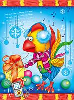 Новогодний подарочный пакет Большой вертикальный - Петушек в наушниках