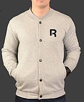 Бомбер мужской на манжетах серый трикотажный от бренда Reebok Classic Рибок Классик