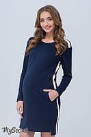 Модное платье-туника для беременных и кормящих DANIELLE, темно-синее 1, фото 1