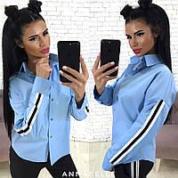 Женская рубашка с лампасами / хлопок / Украина 24-1170, фото 1