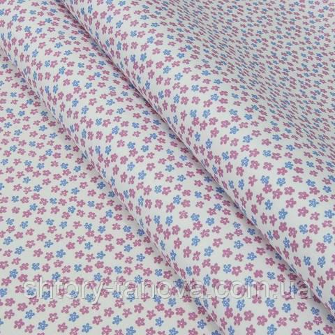 Экокоттон, цветочный принт, розово-голубой