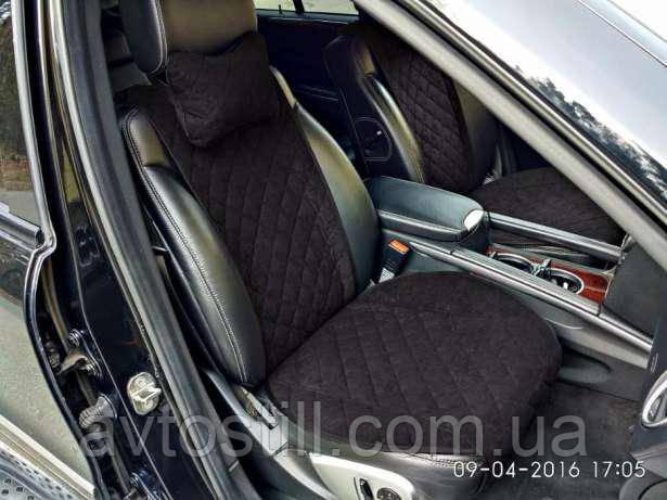 Накидки на передние сиденья — черные широкие (2 шт)