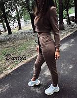 Женский модный костюм-двойка брюки и короткая кофта