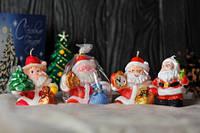 Новогодняя декоративная свеча 5шт/уп - Дед Мороз с часами (елкой)