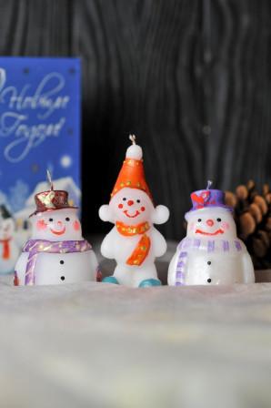 Новогодняя декоративная свеча 5шт/уп - Снеговик большой