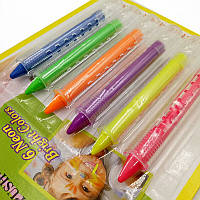 Неоновые карандаши для боди-арта, гримма, чтобы рисовать на лице и теле, макияж на хэллоуин (цена за 6шт)