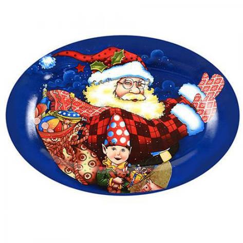 """Блюдо овальное керамическое 35см """"Дед Мороз"""" R22108 (24шт), фото 2"""
