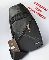 Чоловіча спортивна шкіряна сумка через плече рюкзак бананка слінг, фото 1