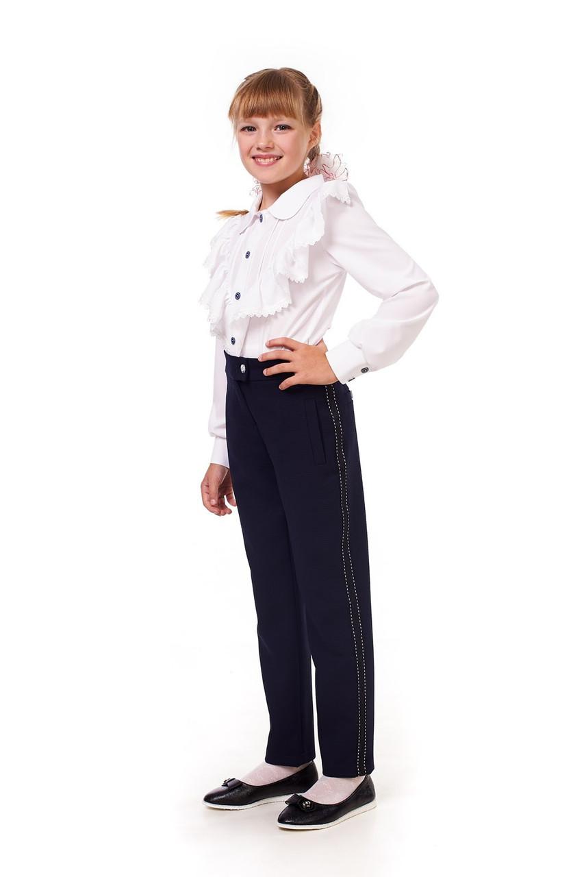 Стильные школьные брюки синего цвета для девочки 15011