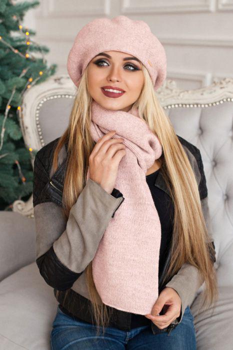 Зимний женский комплект «Вива» (берет и шарф) Пудра