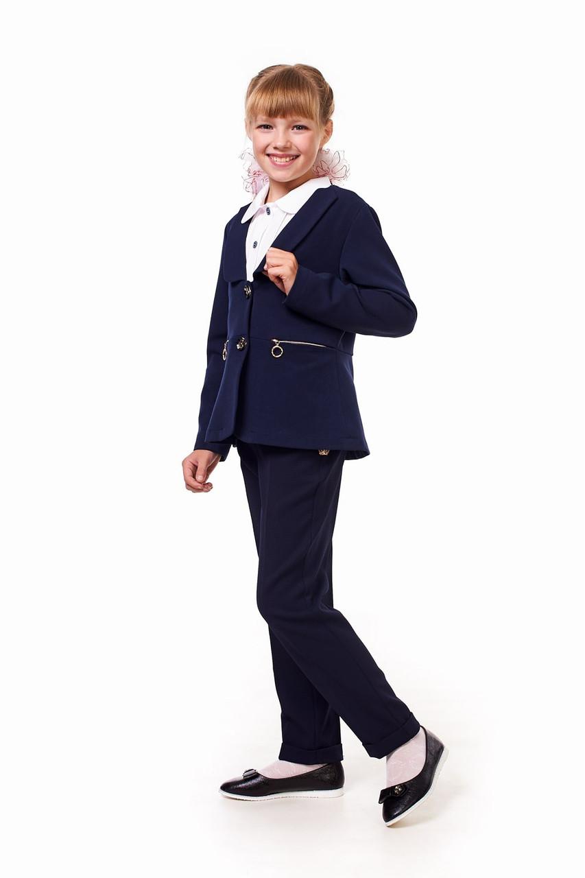 Школьный жакет синего цвета для девочки 17001