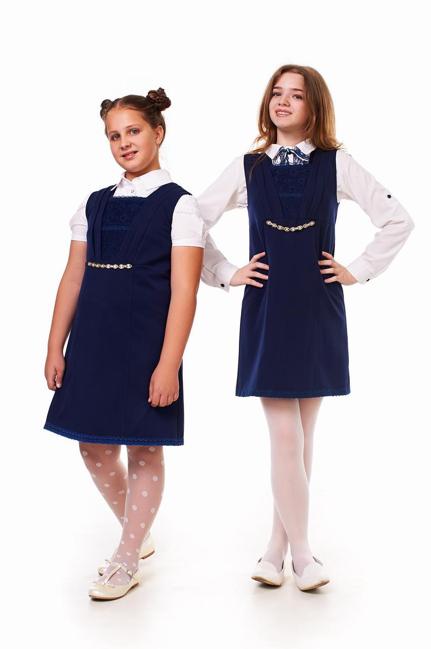 Красивый синий школьный сарафан для девочки 51501