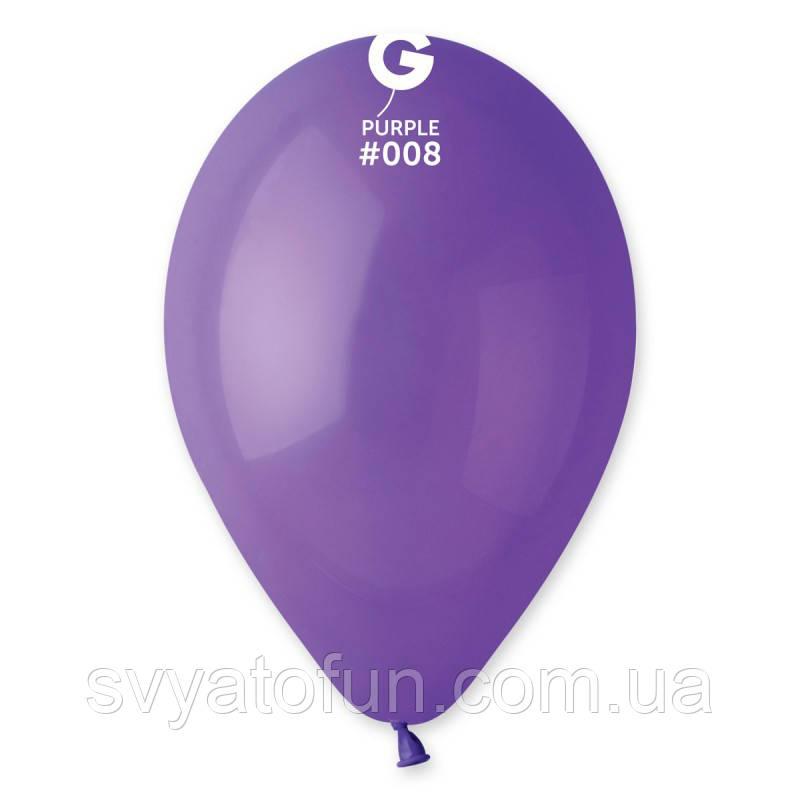 """Латексные воздушные шарики 10"""" пастель 08 фиолетовый Gemar"""