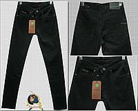 Модные мужские зауженные джинсы однотонного чёрного цвета 34 размера
