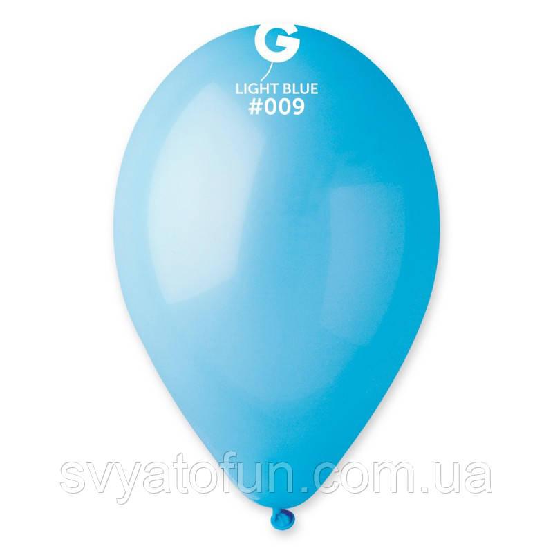 """Латексные воздушные шарики 10"""" пастель 09 голубой Gemar"""