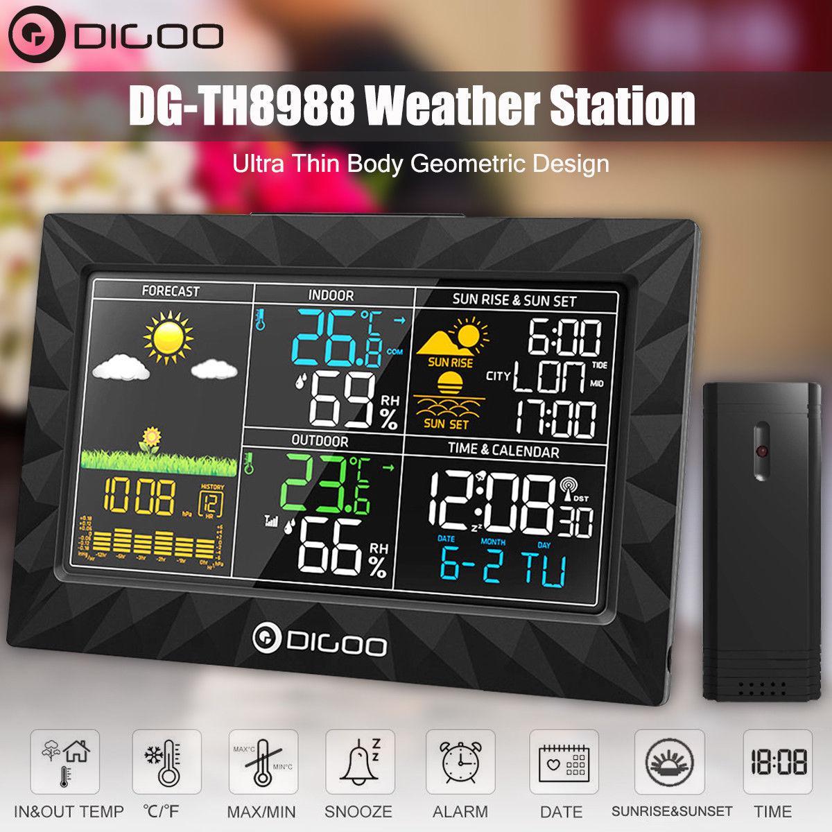 Метеостанция DIGOO DG-TH8988 гигрометр/термометр/барометр с большим цветным дисплеем и внешним радио датчиком