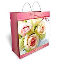 Бумажный подарочный пакет большой квадрат 32.3*32.3*14см №34,038 СП