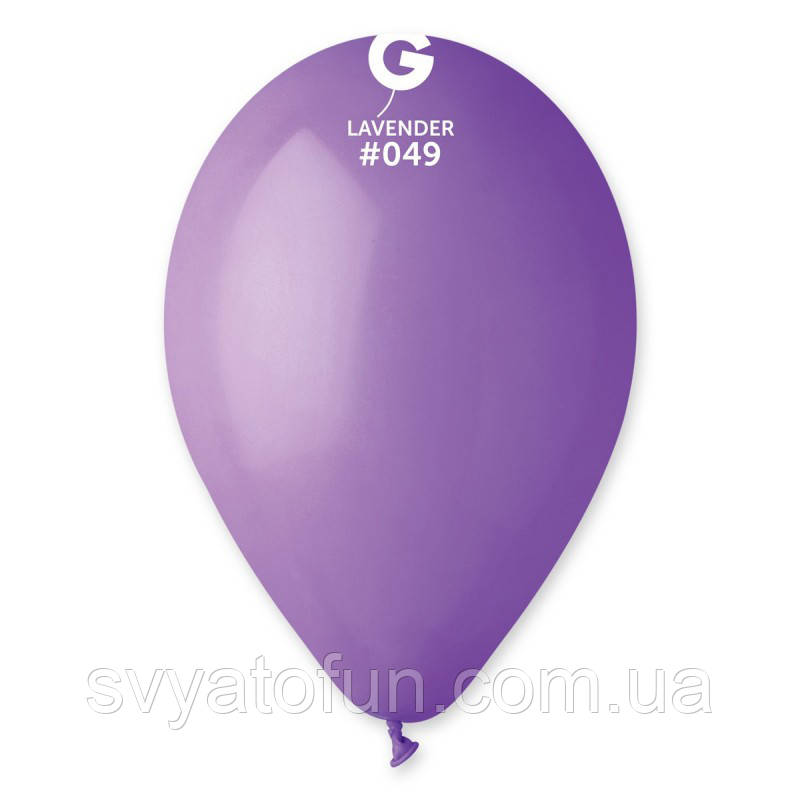 """Латексные воздушные шарики 10"""" пастель 49 сиреневый Gemar"""