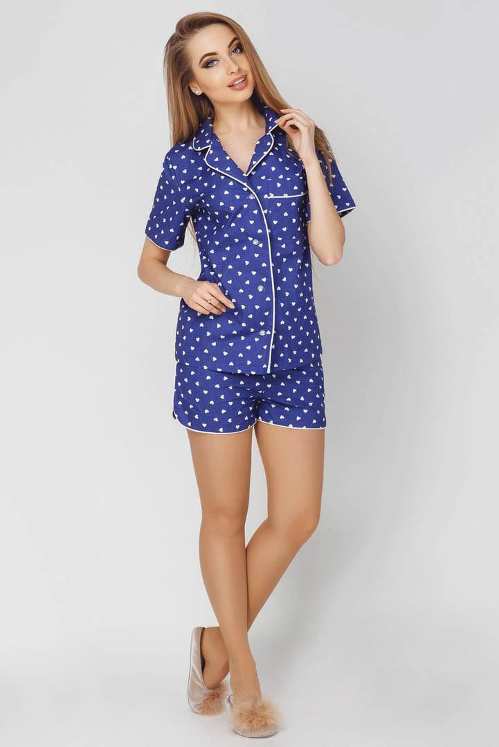 Пижама с шортами принт сердечки