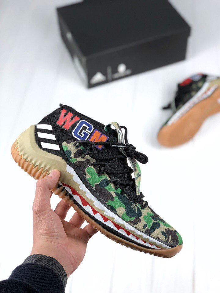 мужские кроссовки Bape X Adidas Dame 4 Camo Green топ реплика в