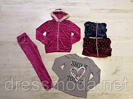 Велюровый спортивный костюм для девочек тройка Seagull 6-14 лет