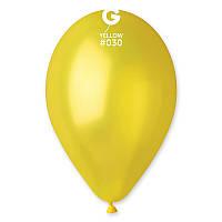 """Латексные воздушные шарики 10"""" металлик 30 желтый Gemar"""