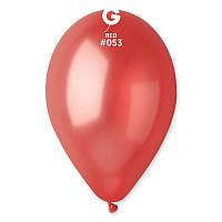 """Латексные воздушные шарики 10"""" металлик 53 красный Gemar"""