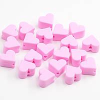 """Силиконовые бусины """"Мини Сердечки"""" розовый 14 мм, фото 1"""