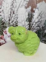 Свинья из капусты, мыло натуральное, ручная работа. Вес 150 г. Капуста на подарок друзьям в год кабана