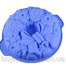 Силиконовая форма цветок с бантом 24*5 см