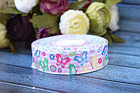 """Лента репсовая с рисунком 2.5 см """"Бабочки розовая полоса"""", 25 ярд, оптом"""