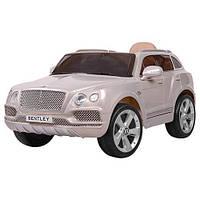 Детский электромобиль Bentley р/у2,4G,2мотора,2аккум 6V7A,кож.сид,колесаЕВА,MP3,краш серебристый