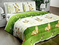 Бязь Люкс Зеленый с бабочками N66781green