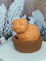 Оранжевый набор мыла хрюша - капуста в корзинке, ручная работа. Общий вес 250 г. Новогодний презент друзьям