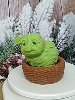 Натуральное мыло корзинка со свинкой, ручная работа. Общий вес 250 г. Подарочек под елочку в год кабана 2019